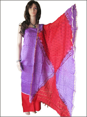 Chanderi Lavender  warli print top with blue cotton bottom and special dupatta