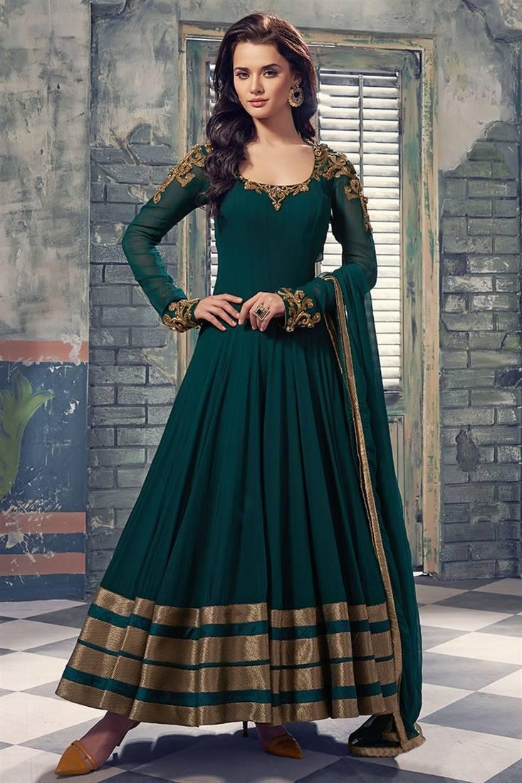 Buy Dark Green Hand Woven Georgette Semi Stitched Salwar