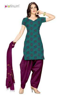 Bright Turquoise Ladies Suit Kameez Material PS012