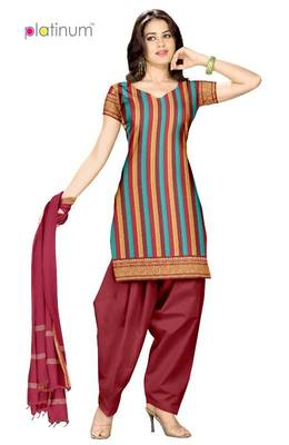 Maroon & Turquoise Unstiched Ladies Suit Material PS015