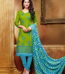 Buy Green Embroidered jacquard unstitched salwar with dupatta dress-material online