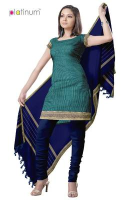 French Blue Fancy Cotton Suit Kameez Material PS025