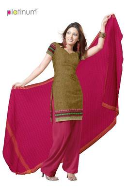 Olive Green Ladies Cotton Kameez Material PS053