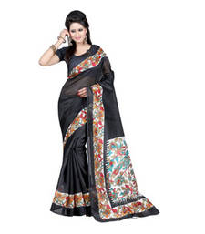 Buy Black and White printed printed silk saree with blouse party-wear-saree online