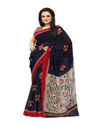 Buy Blue and White printed printed silk saree with blouse party-wear-saree online