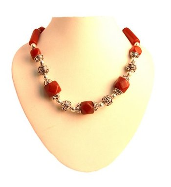 Gems Stone Beads Necklace Set with German silver Beads