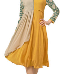 Buy Charismatic Beige And Yellow Ocur Color Georgette Fabric Kurti heavy-work-kurtis online