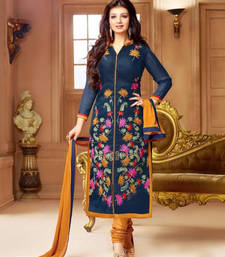 Buy Navy Blue Embroidered Chanderi Silk semi stitched salwar with dupatta collar-neck-design online