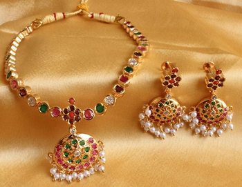 Gorgeous Multi colour south Indian Style necklace set -Dj11941