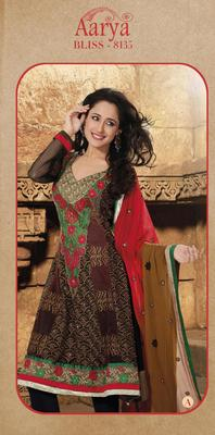 Brown Georgette Anarkali Suit