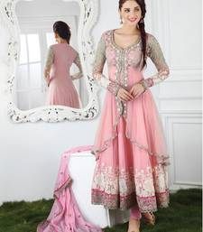 Buy Pink chanderi embroidered semi_stitched salwar with dupatta anarkali-salwar-kameez online