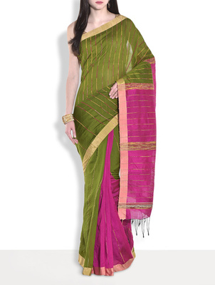 Green hand_woven handloom saree with blouse