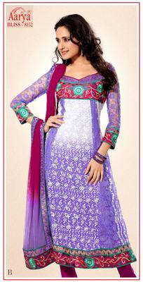Purple Wrinkle Georgette Party Wear Suit