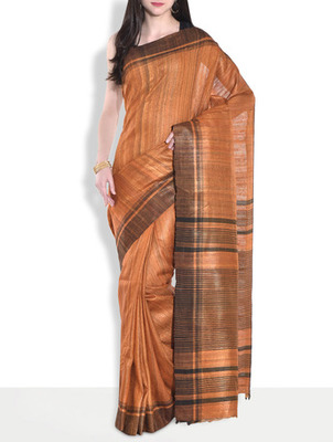 Orange hand_woven handloom saree with blouse