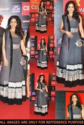 Grey Sri Devi Gown Style Lehenga
