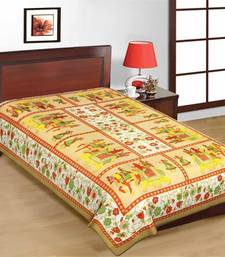 Buy Jaipuri Brown Color Traditional Horse Design Pure Cotton Single Bedsheet bed-sheet online