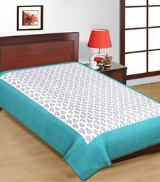 Buy Jaipuri Blue and White Color Designer Print Pure Cotton Single Bedsheet bed-sheet online