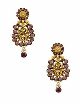 Purple Temple Dangle and Drop Earrings Jewellery for Women - Orniza