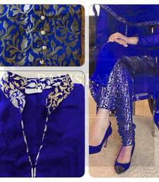 Blue silk embroidered semi_stitched salwar with dupatta shop online