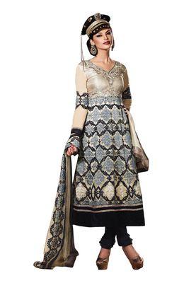 Fabdeal Purple Colored Crepe Jacquard Semi-Stitched Salwar Suit