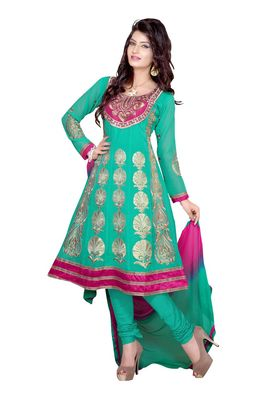 Fabdeal Turquoise Colored Faux Georgette Semi-Stitched Salwar Suit