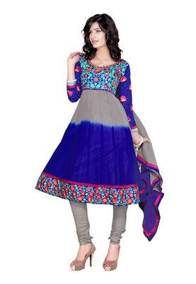 Fabdeal Grey & Blue Colored Faux Georgette Semi-Stitched Salwar Suit