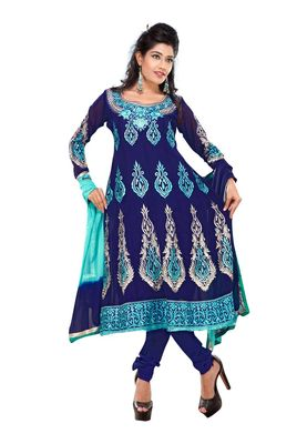 Fabdeal Blue Colored Faux Georgette Semi-Stitched Salwar Suit