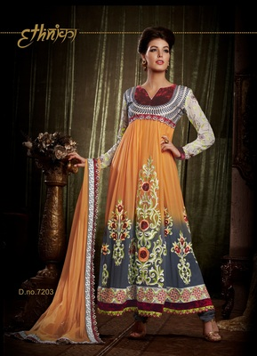 Indian Designer Orange Bemberg Georgette Churidar Kameez Anarkali Dresses, Dress