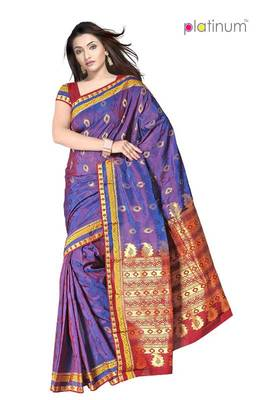 29641e386b Pansy purple Designer Zari Fancy saree PS346 - Platinum - 86207