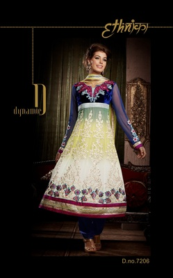 Indian Designer Off White Bemberg Georgette Churidar Kameez Anarkali Dresses, Dress