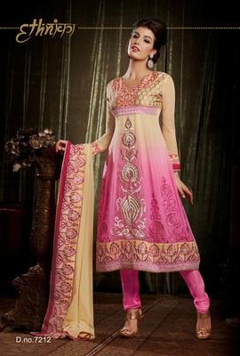 Indian Designer Pink Bemberg Georgette Churidar Kameez Anarkali Dresses, Dress
