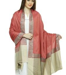 Buy Pink royal border pure wool shawl shawl online