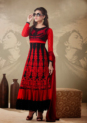 Dazzling Diva Black & Red Salwar Kameez