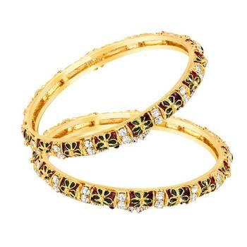 Mahi Gold Plated Ornate Elegance Bangles