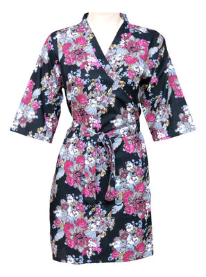 Floral Cotton Robe - Knee Length - Nightwear - Lounge wear - Night wear - Maternity Wear - F1
