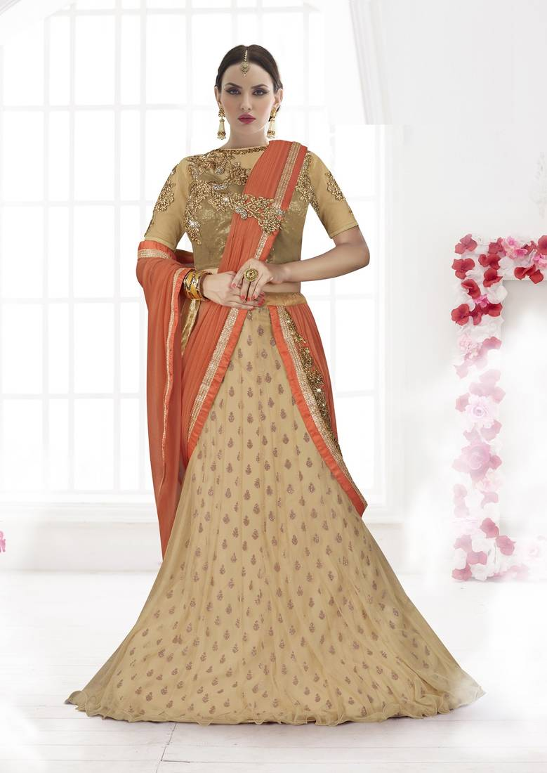 Buy Peach And Chikoo Embroidered Net Saree With Blouse Online
