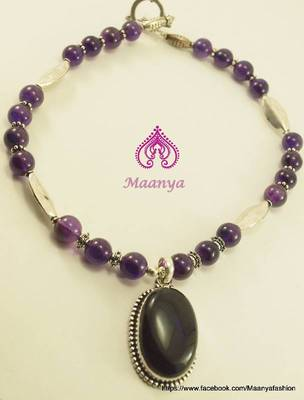 Amethyst gemstone studded pendant necklace