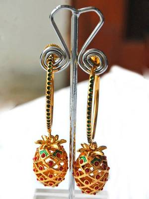 Maayra Golden Party Traditional Loop Earrings