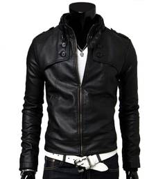 Buy Black Korean Pattern Leather Jacket gifts-for-him online