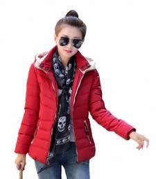 Buy red Korean Pattern Leather Jacket girls-jackets-coat online