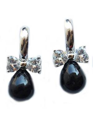 Maayra Black and Silver AD Office Earrings