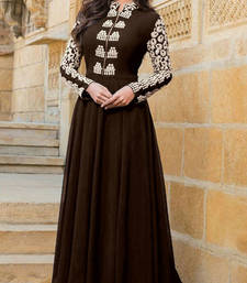 Buy Brown embroidered georgette semi stitched party-wear-gowns party-wear-gown online