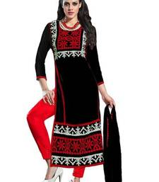 Buy Black and Red embroidered georgette semi stitched salwar with dupatta pakistani-salwar-kameez online