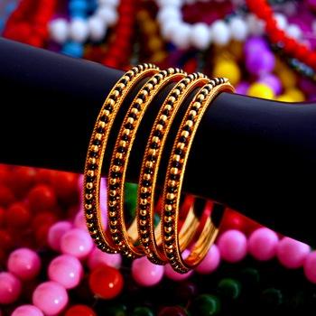 Black bead bangles set of 4