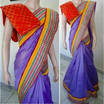 Blue hand woven saree with blouse