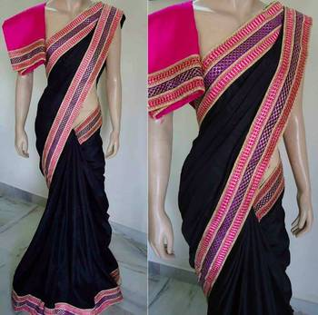 black and pink love saree