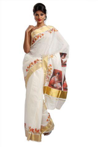 Buy Mural Painted Kerala Set Saree Online