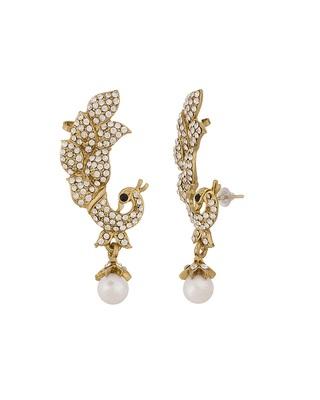 Fabulous Peacock Design Ear Cuffs In Gold Tone