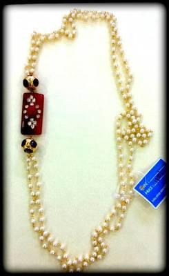 semi precious  kundan beads pearl necklace