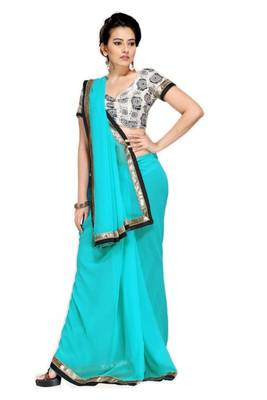 Gorgeous Elegant Georgette Designer Saree With Silk Blouse Piece D.No A7045